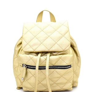 JY0159 Quilted Drawstring Flap Backpack Light-Gold