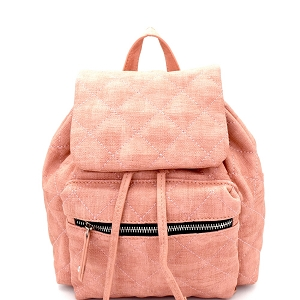 JY0159 Quilted Drawstring Flap Backpack Blush