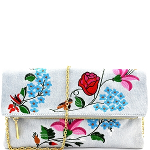 JY0168 Flower Embroidery Fold-Over Clutch Light-Denim