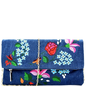 JY0168 Flower Embroidery Fold-Over Clutch Denim