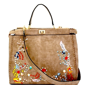 JY0181 Colorful Stud Embellished Textured Embroidered Large Satchel Stone