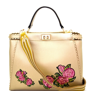 JY0197 Sequin Embellished Flower Patch Turn-Lock Satchel L.Gold