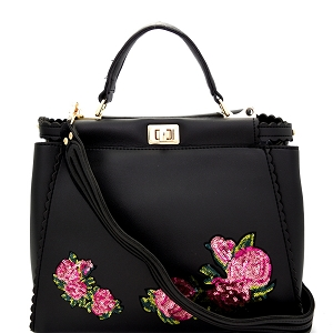 JY0197 Sequin Embellished Flower Patch Turn-Lock Satchel Black