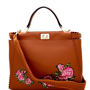 JY0197 Sequin Embellished Flower Patch Turn-Lock Satchel Brown