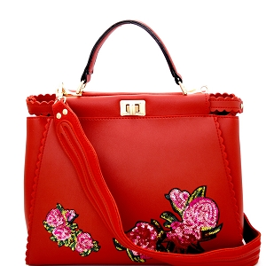 JY0197 Sequin Embellished Flower Patch Turn-Lock Satchel Red