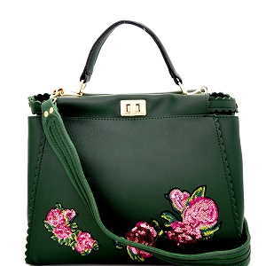 JY0197 Sequin Embellished Flower Patch Turn-Lock Satchel Olive