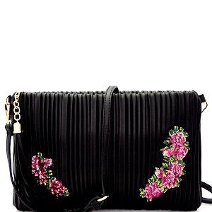 JY0207 Tassel Accent Vertically Lined Sequin Flower Embroidered Clutch Black