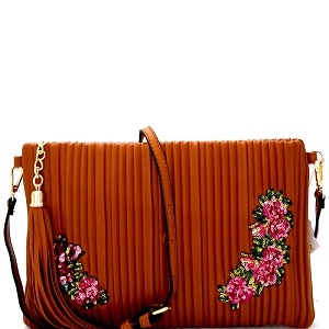JY0207 Tassel Accent Vertically Lined Sequin Flower Embroidered Clutch  Brown