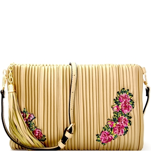 JY0207 Tassel Accent Vertically Lined Sequin Flower Embroidered Clutch Light-Gold