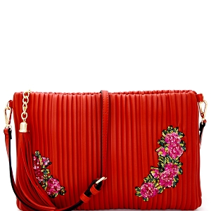 JY0207 Tassel Accent Vertically Lined Sequin Flower Embroidered Clutch Red