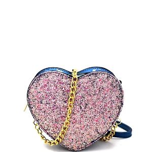 JY0211 Heart Shape Glittery Patent 2 Way Cross Body Fanny Pack Blue