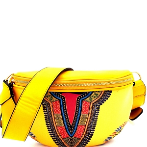 JY0228 Dashiki Ethnic Print Fashion Fanny Pack Mustard