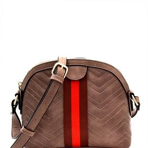 JY0237 Color Block Stripe Chevron Quilted Shoulder Bag Stone