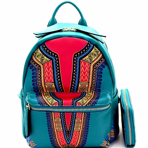 JY0238W Ethnic Dashiki Print Multi-Pocket Backpack Wallet SET Teal
