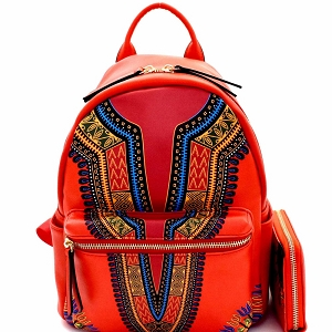 JY0238W Ethnic Dashiki Print Multi-Pocket Backpack Wallet SET Red