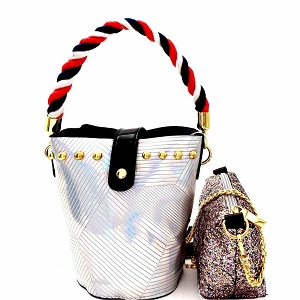 JY0241 Rope Handle Metallic 2 in 1 Shoulder Bag Hologram