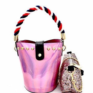 JY0241 Rope Handle Metallic 2 in 1 Shoulder Bag Blush