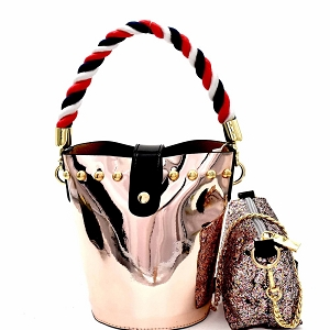 JY0241 Rope Handle Metallic 2 in 1 Shoulder Bag Rose-Gold