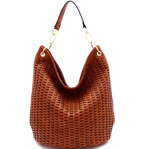 JY0259 Woven Accent Chain Decorated Single Strap Hobo Brown