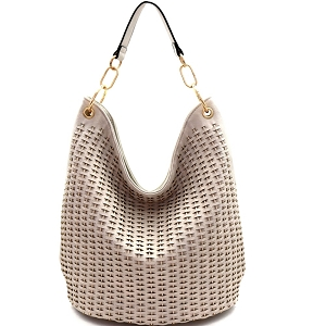 JY0259 Woven Accent Chain Decorated Single Strap Hobo Off-White