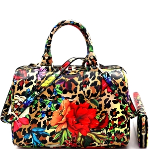 JY0296W Flower Leopard Print Patent 2-Way Boston Doctor Satchel Wallet SET Leoflower-1