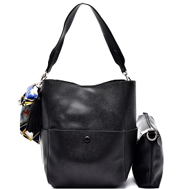 L0099 Scarf Tassel Accent Saffiano 2 in 1 Hobo Black