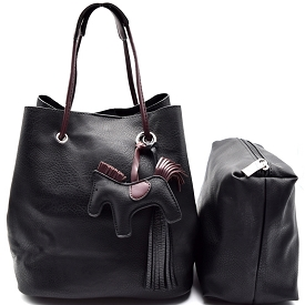 L0102 Pony Charm 2 in 1 Convertible Shoulder Bag Satchel Black