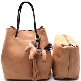 L0102 Pony Charm 2 in 1 Convertible Shoulder Bag Satchel Tan