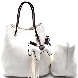 L0102 Pony Charm 2 in 1 Convertible Shoulder Bag Satchel White