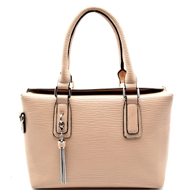 L0104 Tassel Accent Top-Flap Textured Satchel Taupe