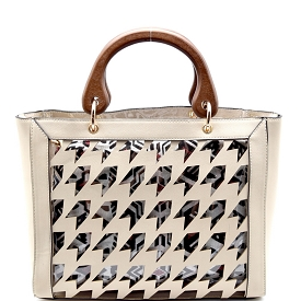 L0106 Houndstooth Laser-Cut 2 in 1 Clear Bag with Wooden Handle Beige