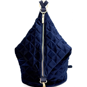 L0130 Embossed Velvet Covertible Backpack Hobo Navy-Blue