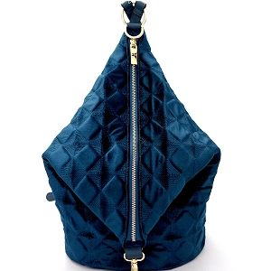 L0130 Embossed Velvet Covertible Backpack Hobo Turquoise