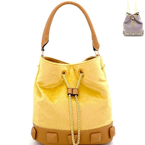 L0133 Studded Faux Calf Hair Convertible Drawstring Backpack Hobo Gold