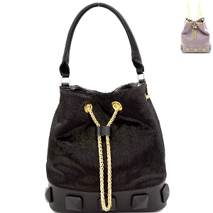 L0133 Studded Faux Calf Hair Convertible Drawstring Backpack Hobo Black