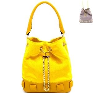 L0133 Studded Faux Calf Hair Convertible Drawstring Backpack Hobo Mustard