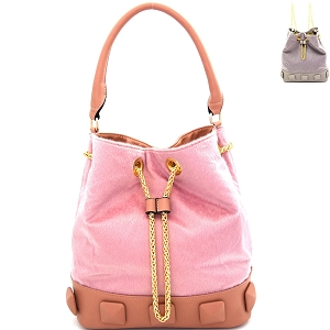 L0133 Studded Faux Calf Hair Convertible Drawstring Backpack Hobo Blush