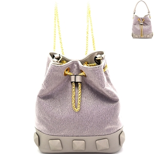 L0133 Studded Faux Calf Hair Convertible Drawstring Backpack Hobo Light-Gray
