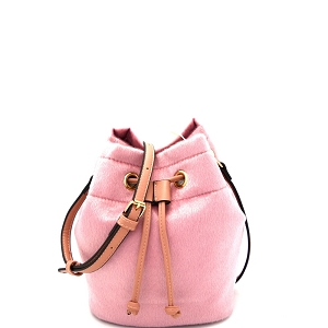 L0134 Faux Calf Hair Drawstring Shoulder Bag Blush