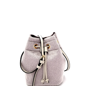 L0134 Faux Calf Hair Drawstring Shoulder Bag Light-Gray