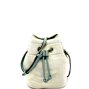 L0134 Faux Calf Hair Drawstring Shoulder Bag Mint