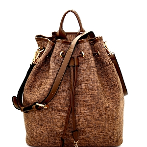 L0137 Linen Drawstring Convertible 2-Way Backpack Satchel Brown
