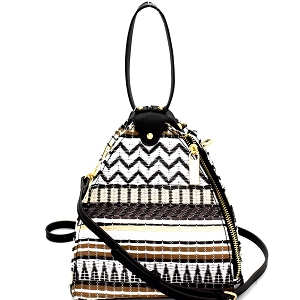 L0154 Colorful Tribal Print Unique Dome-Shape Shoulder Bag MT1 (Black)