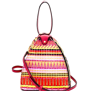 L0154 Colorful Tribal Print Unique Dome-Shape Shoulder Bag MT3 (Fuchsia)