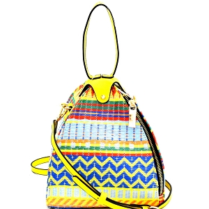 L0154 Colorful Tribal Print Unique Dome-Shape Shoulder Bag MT5 (Yellow)