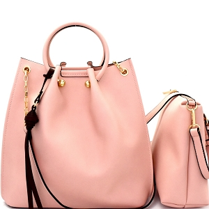 L0159 Handle Accent 2 in 1 Bucket Satchel Crossbody Value SET Blush