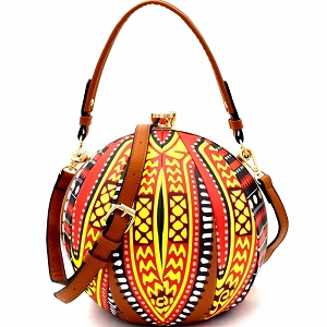 L0181 Ethnic Dashiki Print Patchwork Ball-Shaped 2-Way Satchel Brown