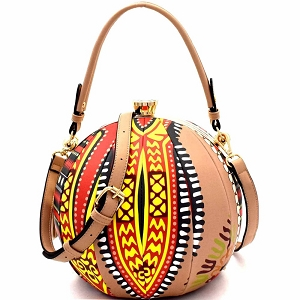 L0181 Ethnic Dashiki Print Patchwork Ball-Shaped 2-Way Satchel Taupe