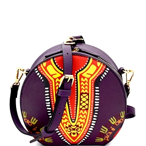 L0183 Wrist Handle Accent Ethnic Dashiki Print Round Shoulder Bag Purple