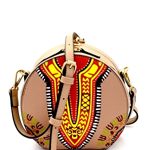 L0183 Wrist Handle Accent Ethnic Dashiki Print Round Shoulder Bag Taupe